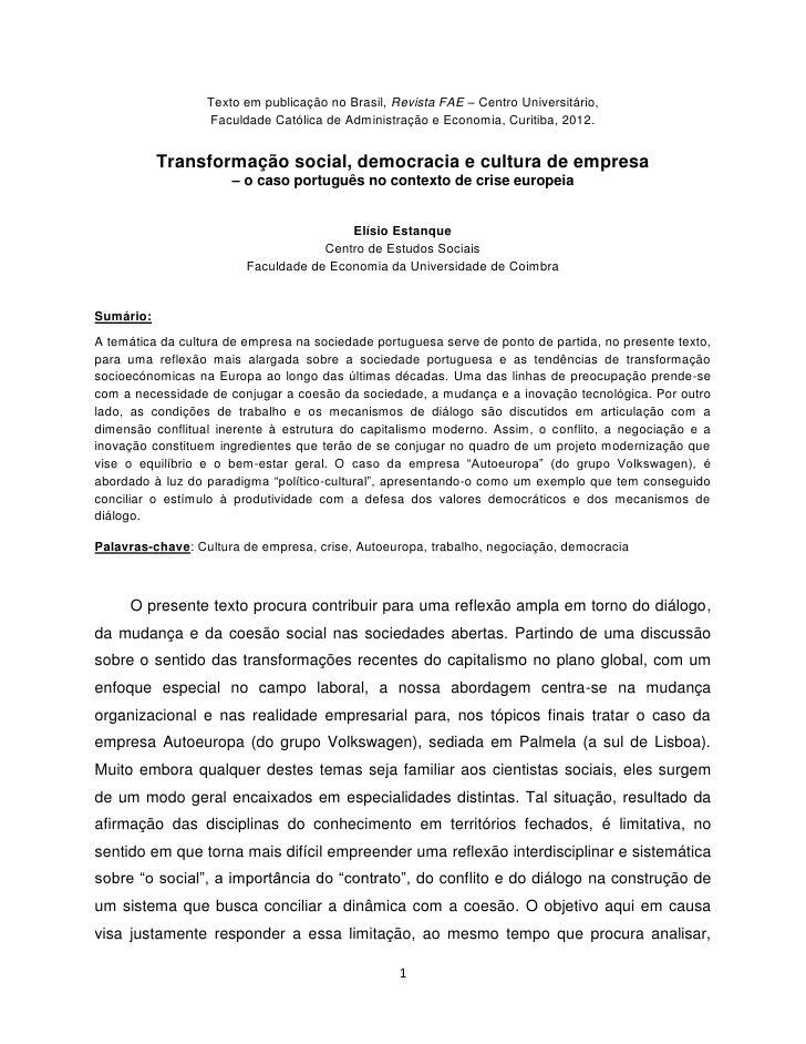 Texto em publicação no Brasil, Revista FAE – Centro Universitário,                  Faculdade Católica de Administração e ...