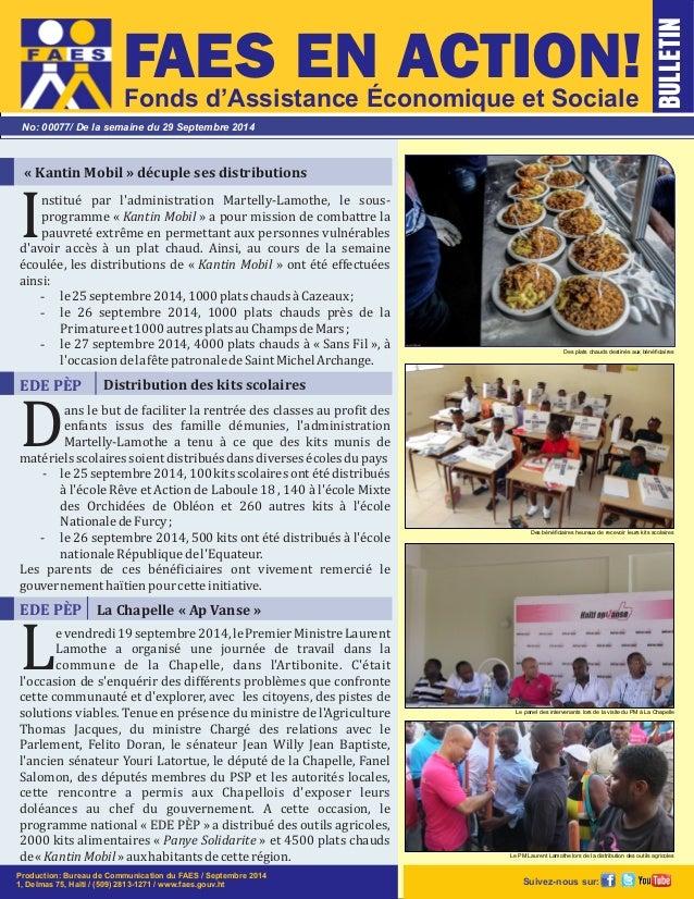 FAES EN ACTION!  Fonds d'Assistance Économique et Sociale  No: 00077/ De la semaine du 29 Septembre 2014  « Kantin Mobil »...