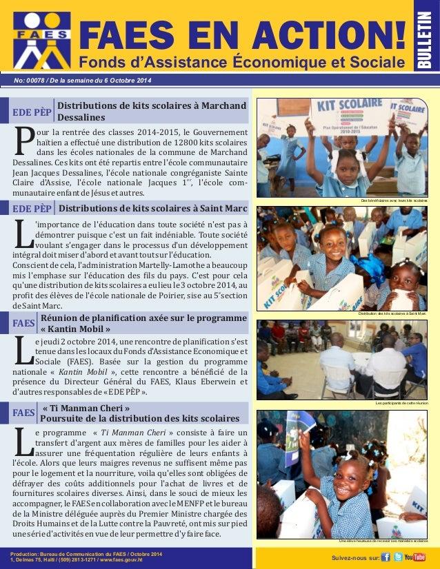 FAES EN ACTION!  Fonds d'Assistance Économique et Sociale  No: 00078 / De la semaine du 6 Octobre 2014  Distributions de k...