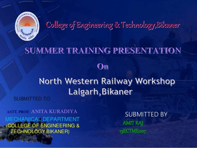 SUBMITTED TO ASTT. PROF. ANITA KURADIYA MECHANICAL DEPARTMENT (COLLEGE OF ENGINEERING & TECHNOLOGY BIKANER) SUBMITTED BY A...
