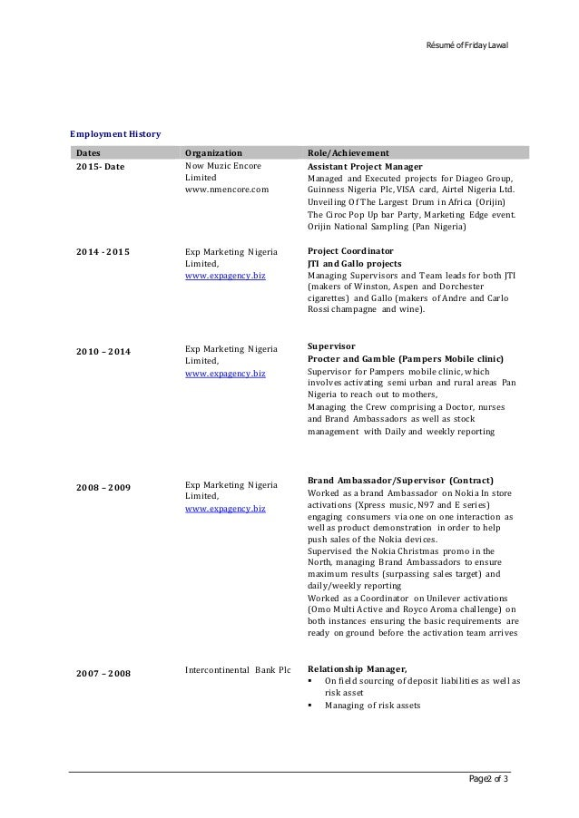 resume dates of employment | Template