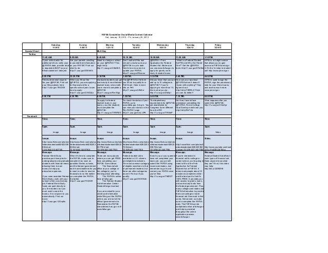 FAFSA Completion Social Media Content Calendar                                                                            ...