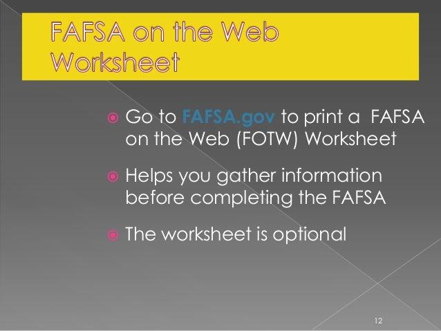 FAFSA Fundamentals – Fafsa on the Web Worksheet