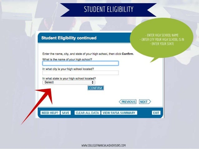 STUDENT ELIGIBILITY            Student Ellglblllty continued  Enter the name.  city,  and state of your high school,  then...