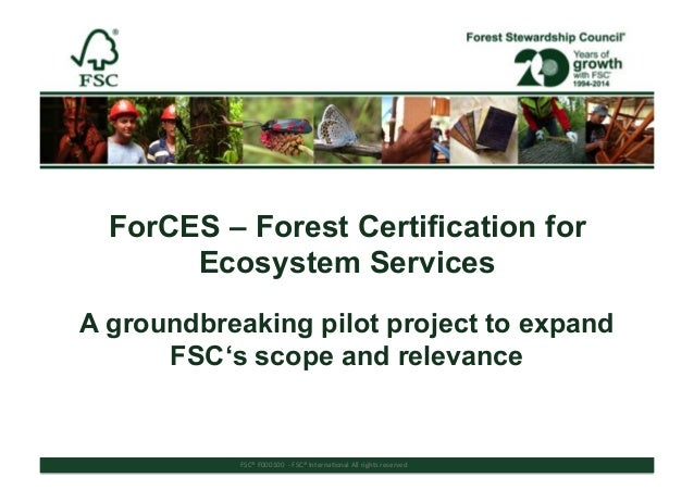 FSC®%F000100%%(%FSC®%Interna/onal%All%rights%reserved%% ForCES – Forest Certification for Ecosystem Services A groundbreak...