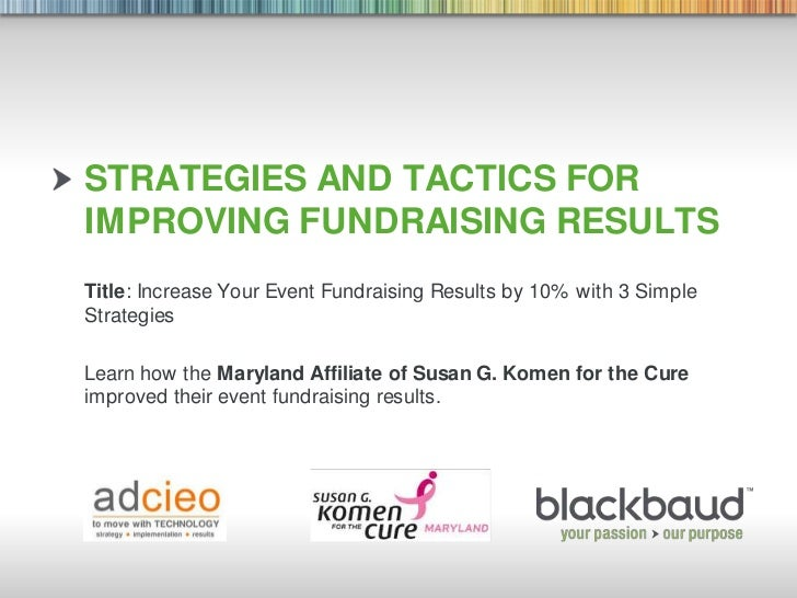 Strategies and tactics for Improving Fundraising Results<br />Title: Increase Your Event Fundraising Results by 10% with 3...