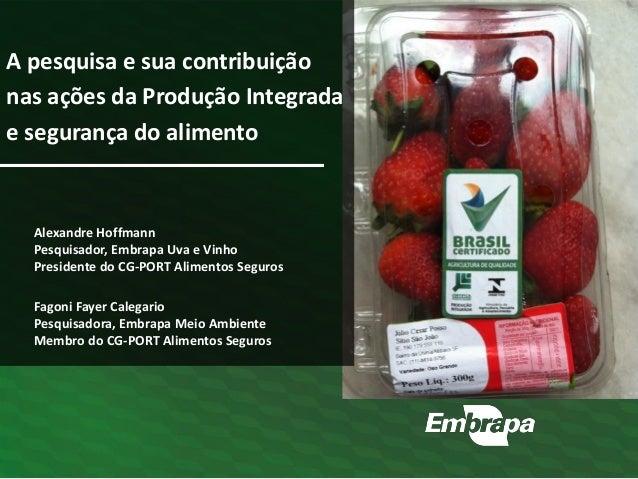 A pesquisa e sua contribuição nas ações da Produção Integrada e segurança do alimento Fagoni Fayer Calegario Pesquisadora,...