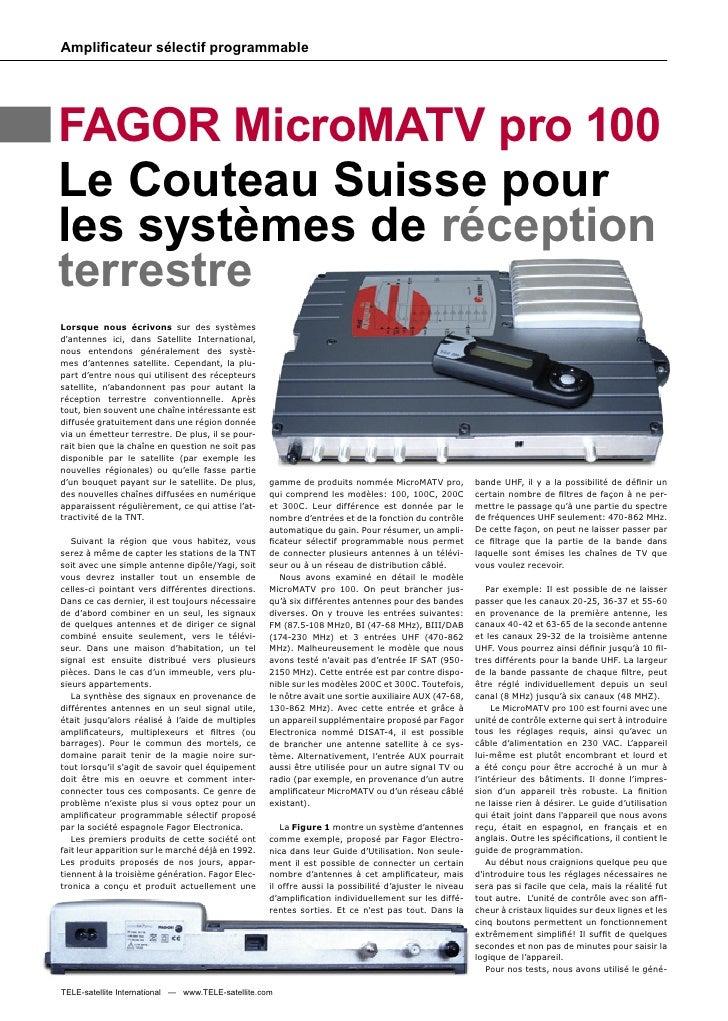 Amplificateur sélectif programmable     FAGOR MicroMATV pro 100 Le Couteau Suisse pour les systèmes de réception terrestre ...
