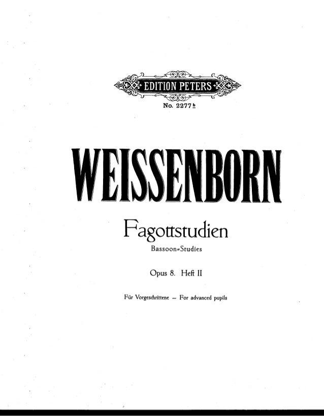 Fagottstuciíen B  sssss nnstudíes  Opus 8. Hei¡ II  Für Vorgesdirittcnc -- Foi- advanced pupiis