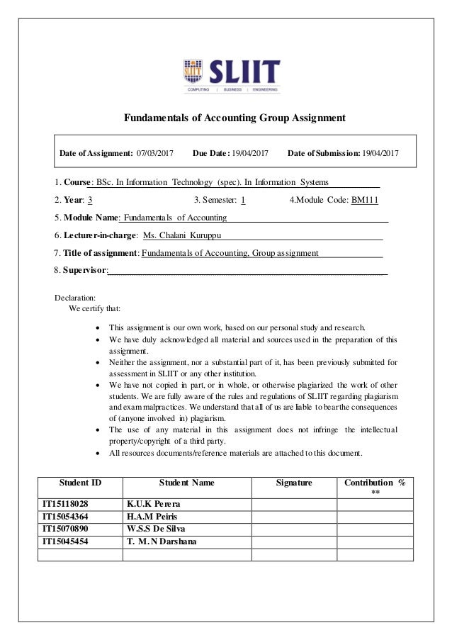 Accounting group assignment