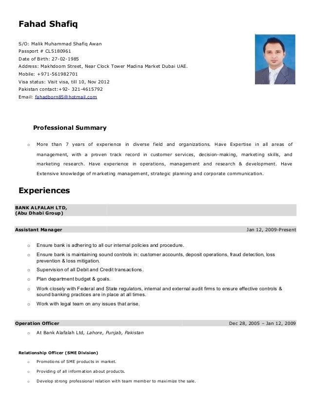 Fahad Shafiq S/O: Malik Muhammad Shafiq Awan Passport # CL5180961 Date of Birth: 27-02-1985 Address: Makhdoom Street, Near...