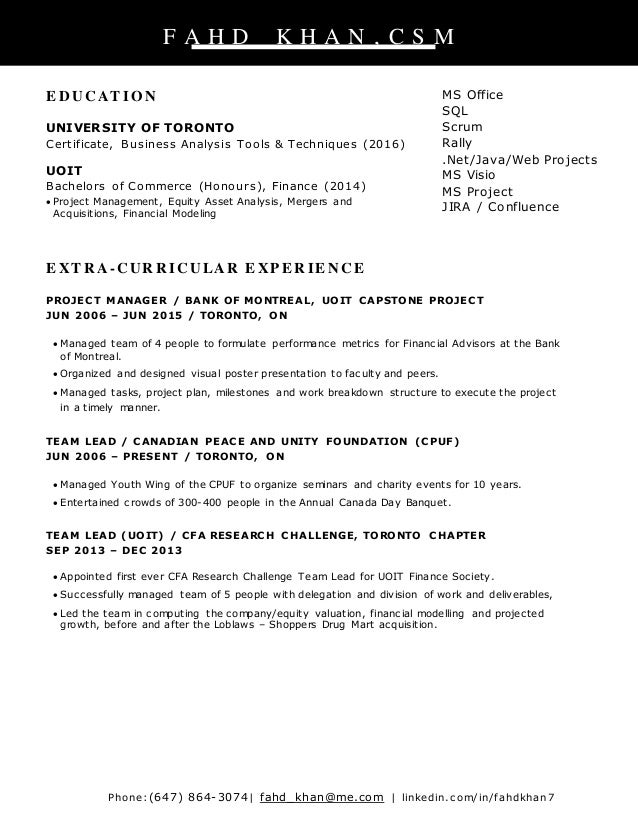scrum master resume cover letter