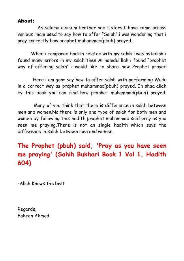 Pray as Seen Me Praying Prophet Muhammad(pbuh)