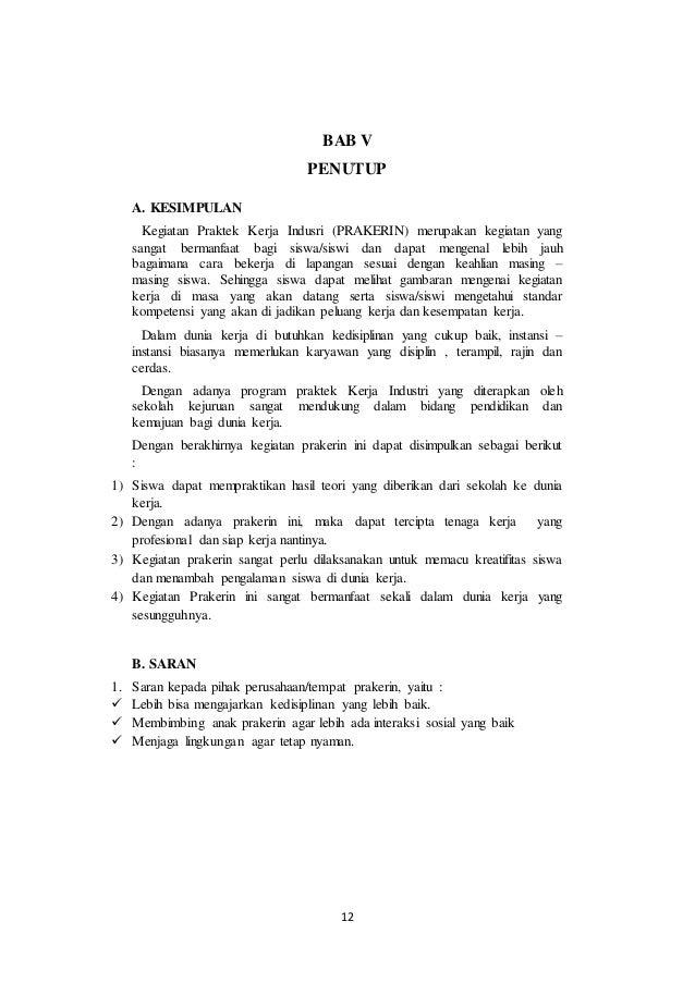 Contoh Laporan Jurusan Tkr