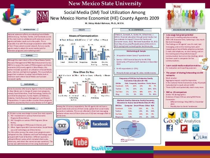 New Mexico State University                                                              Social Media (SM) Tool Utilizatio...