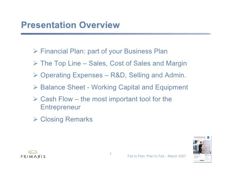 Fail to Plan: Plan to Fail Slide 2