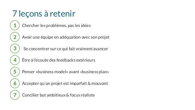 7 leçons à retenir 1 Chercher les problèmes, pas les idées 5 Penser «business model» avant «business plan» 2 Avoir une équ...