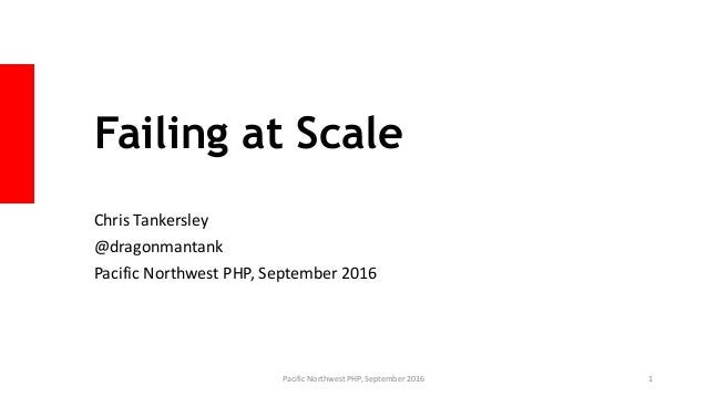 Failing at Scale Chris Tankersley @dragonmantank Pacific Northwest PHP, September 2016 Pacific Northwest PHP, September 20...