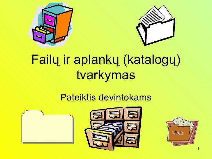 Failų ir aplankų (katalogų) tvarkymas Pateiktis devintokams