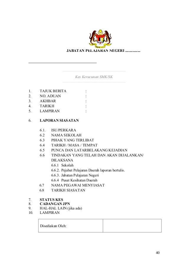 Contoh Surat Notis Siasatan Dalaman