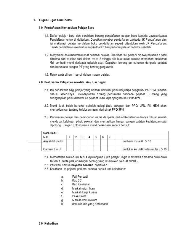 1. Tugas-Tugas Guru Kelas 1.0 Pendaftaran Kemasukan Pelajar Baru 1.1. Daftar pelajar baru dan serahkan borang pendaftaran ...