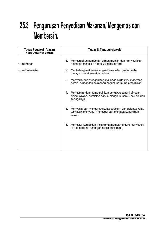25.3 PengurusanPenyediaanMakanan/Mengemasdan Membersih. Tugas Pegawai Atasan Yang Ada Hubungan Tugas & Tanggungjawab Guru ...