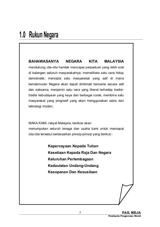 1.0 RukunNegara FAIL MEJA Pembantu Pengurusan Murid 3 BAHAWASANYA NEGARA KITA MALAYSIA mendukung cita-cita hendak mencapai...