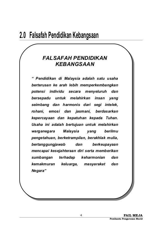 """2.0 FalsafahPendidikanKebangsaan FAIL MEJA Pembantu Pengurusan Murid 4 FALSAFAH PENDIDIKAN KEBANGSAAN """" Pendidikan di Mala..."""