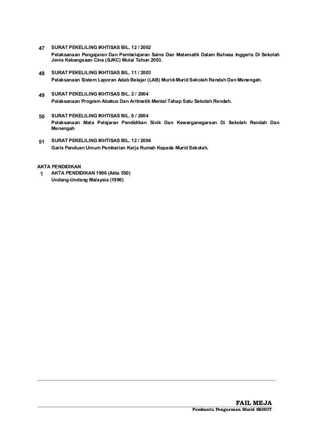 47 SURAT PEKELILING IKHTISAS BIL. 12 / 2002 Pelaksanaan Pengajaran Dan Pembelajaran Sains Dan Matematik Dalam Bahasa Ingge...