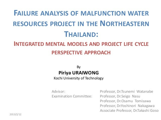 FAILURE ANALYSIS OF MALFUNCTION WATER  RESOURCES PROJECT IN THE NORTHEASTERN                THAILAND:   INTEGRATED MENTAL ...