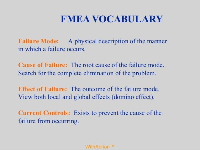 failure mode and effects analysis withadrian u2122 fmea 2013