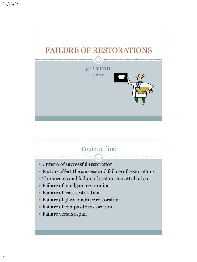 14/06/33  FAILURE OF RESTORATIONS 5 T H YEA R 2 012  Topic outline  Criteria of successful restoration  Factors affect t...
