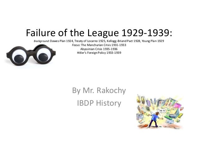 Failure of the League 1929-1939: Background: Dawes Plan 1924, Treaty of Locarno 1925, Kellogg-Briand Pact 1928, Young Plan...