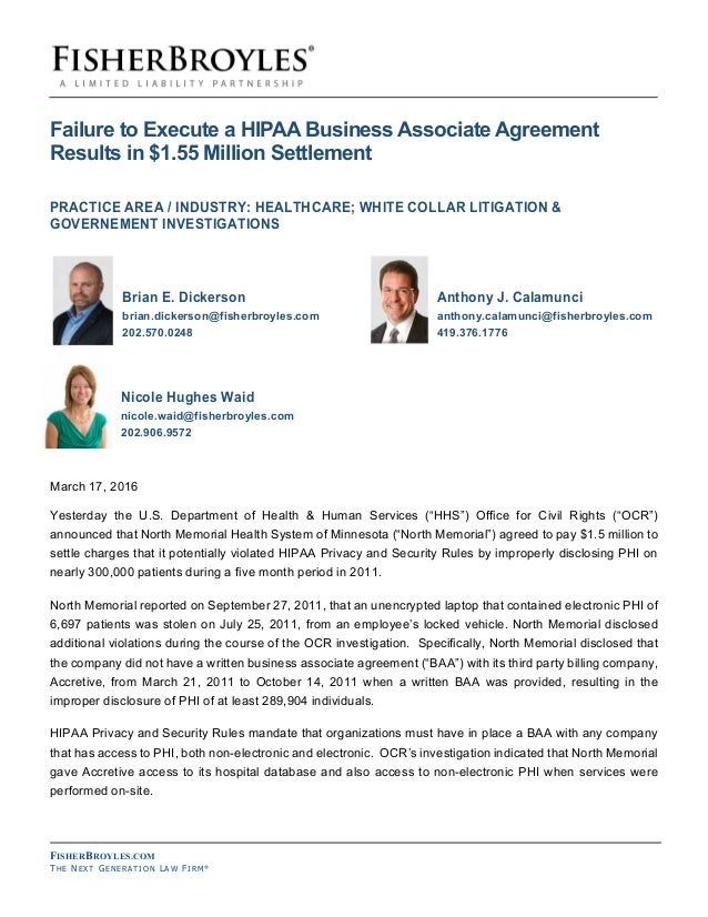 Failure To Execute A Hipaa Business Associate Agreement Results In 1