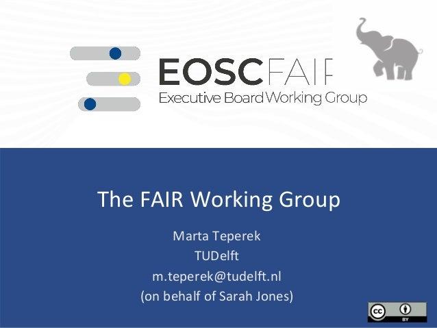 The FAIR Working Group Marta Teperek TUDelft m.teperek@tudelft.nl (on behalf of Sarah Jones)