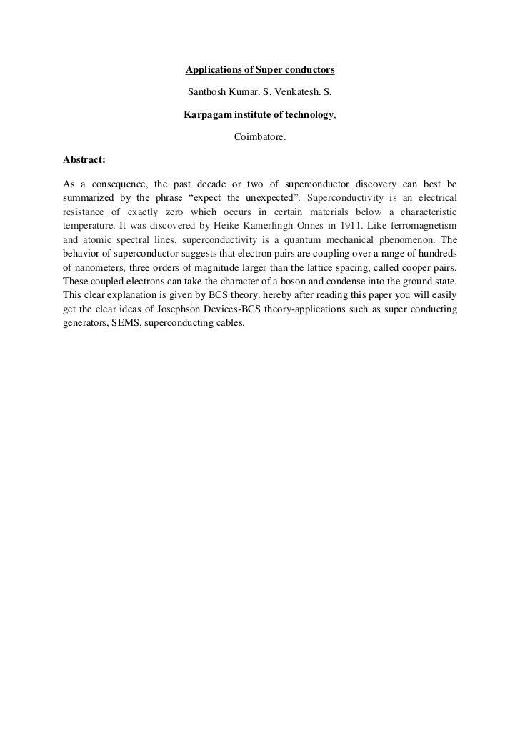 Applications of Super conductors                             Santhosh Kumar. S, Venkatesh. S,                            K...