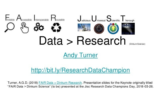 Data > Research (Dinkum Science) Andy Turner http://bit.ly/ResearchDataChampion Turner, A.G.D. (2018) FAIR Data > Dinkum R...