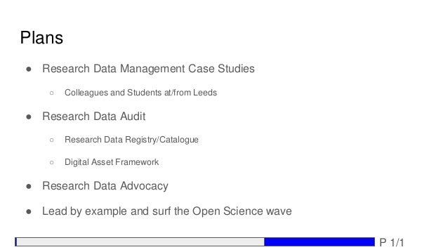 Plans ● Research Data Management Case Studies ○ Colleagues and Students at/from Leeds ● Research Data Audit ○ Research Dat...