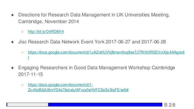 ● Directions for Research Data Management in UK Universities Meeting, Cambridge, November 2014 ○ http://bit.ly/D4RDM14 ● J...