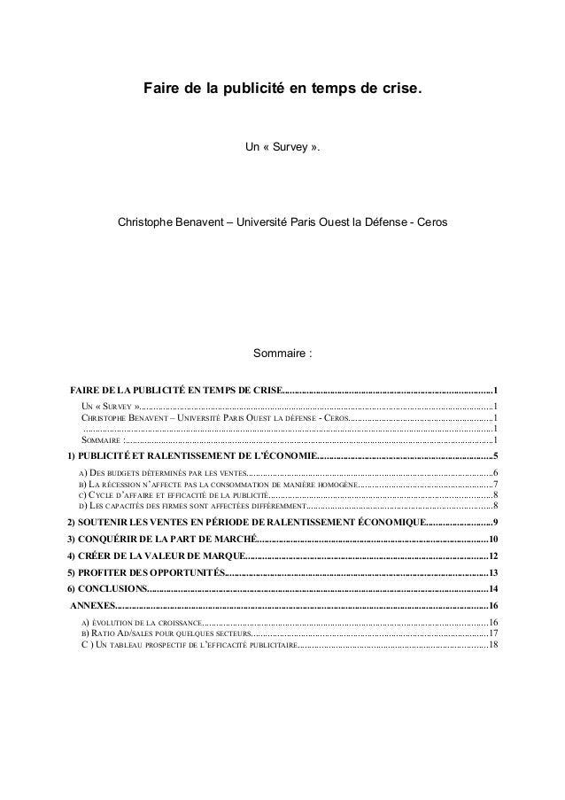 Faire de la publicité en temps de crise. Un « Survey ». Christophe Benavent – Université Paris Ouest la Défense - Ceros So...