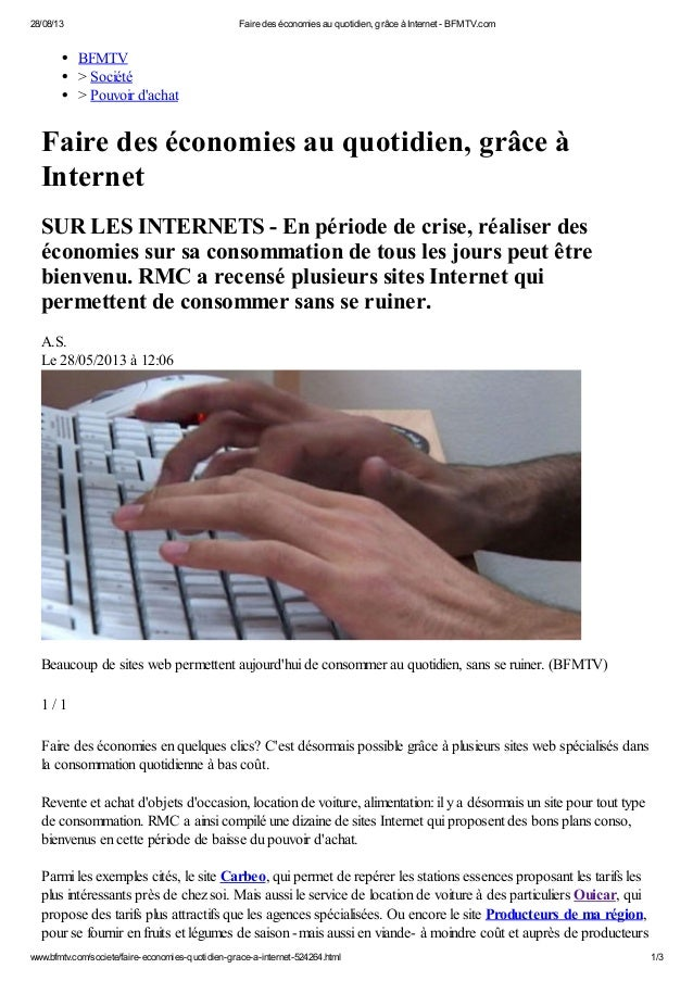 28/08/13 Faire des économies au quotidien, grâce à Internet - BFMTV.com www.bfmtv.com/societe/faire-economies-quotidien-gr...