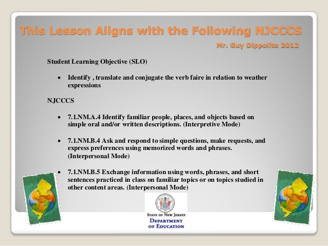This Lesson Aligns with the Following NJCCCS                                                                 Mr. Guy Dippo...