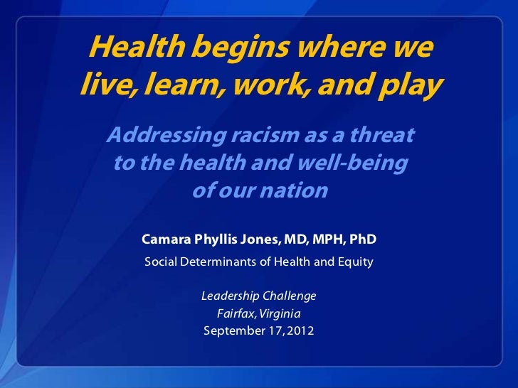 Health begins where welive, learn, work, and play  Addressing racism as a threat  to the health and well-being          of...