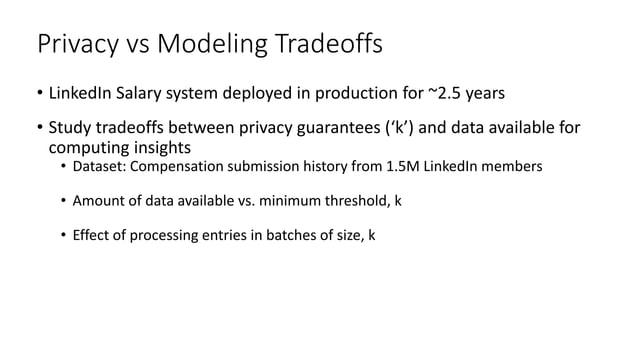 Amount of data available vs. threshold, k