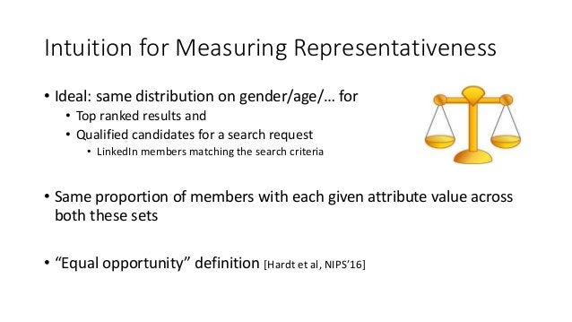 Intuition for Measuring Representativeness • Ideal: same distribution on gender/age/… for • Top ranked results and • Quali...