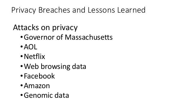 Privacy Breaches and Lessons Learned Attacks on privacy •Governor of Massachusetts •AOL •Netflix •Web browsing data •Faceb...