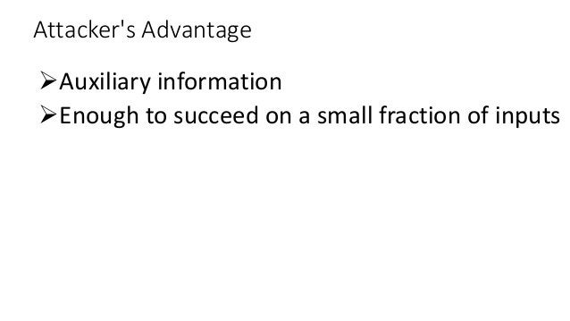 Attacker's Advantage Auxiliary information Enough to succeed on a small fraction of inputs