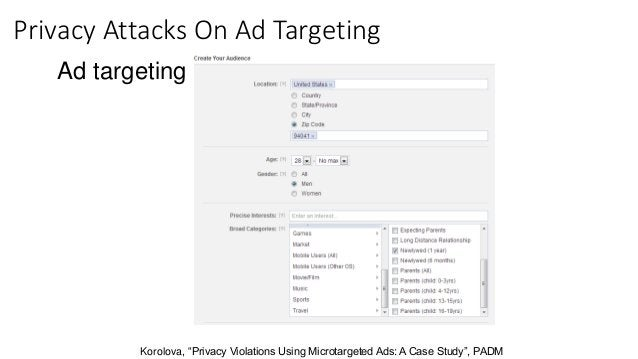 """Ad targeting: Korolova, """"Privacy Violations Using Microtargeted Ads: A Case Study"""", PADM Privacy Attacks On Ad Targeting"""