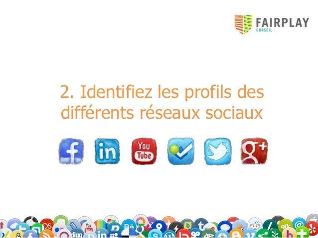 2. Identifiez les profils desdifférents réseaux sociaux