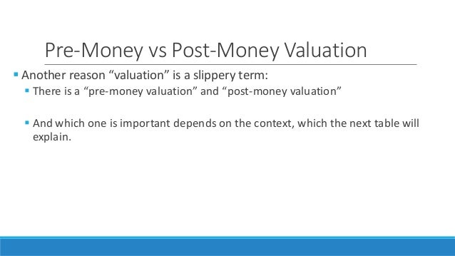 Pre money post money valuation ipo